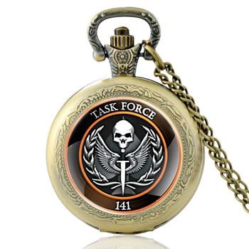 2020 New Task Force 141 Pattern Unique Vintage Quartz Pocket Watch Men Women Glass Dome Pendant Necklace Hours Clock недорого