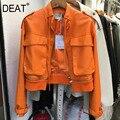 DEAT Neue Herbst Winter Mode Casual Langarm Einfarbig Genäht Zipper Dünne Leder Mantel Frauen Kurze PU Jacke SG300