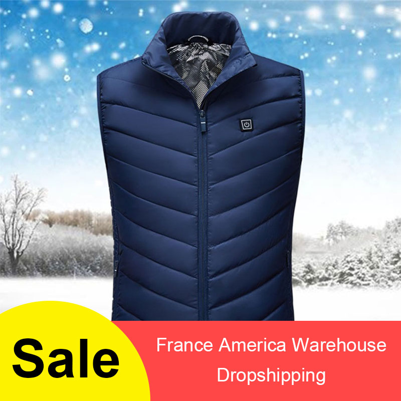 2019 New Men Women Electric Heated Vest Heating Waistcoat USB Thermal Warm Cloth Feather Winter Jacket Hunting Hinking  Dropship