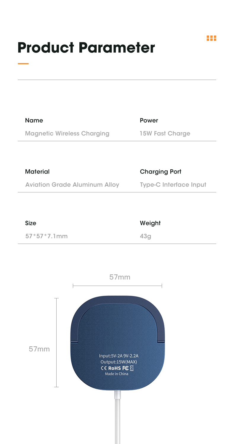 15W Magnetic Wireless Charger For iPhone 12 Pro Max Mini QI Fast Charge For Samsung USB C PD Adapter Original Magnet Charger