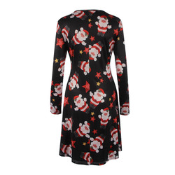 5XL Plus Size Women Clothing Christmas Dresses 2019 New Autumn Winter Casual Loose Tree Snowman Printing Mini Dress For New Year 3