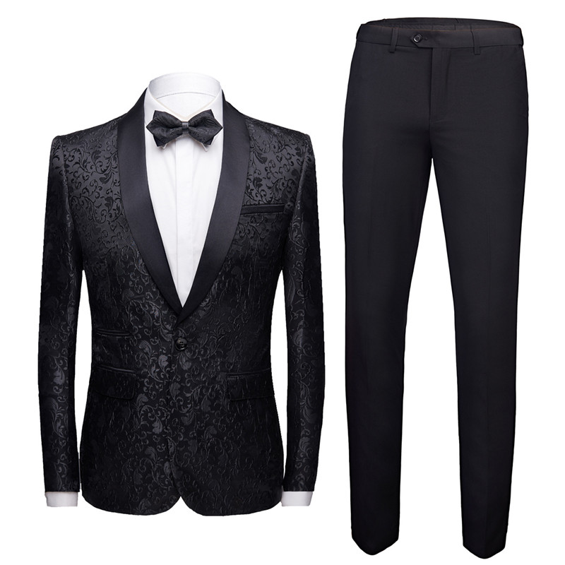 Mens Tuxedo Suit Dress 2 Piece Slim Design Men Blazer Jacket + Pant Asian Size Wedding Banquet  Terno Masculino