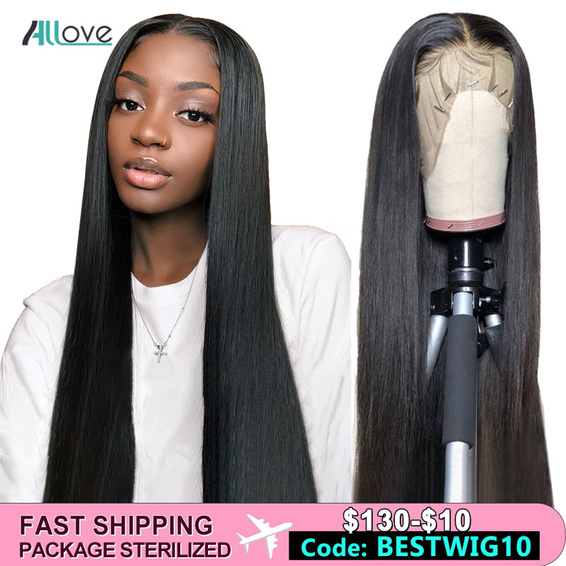 Allove Lace Wig Humain Hair Straight Lace Front HumanHair Wigs Pre Plucked Natural Black Wigs for Women Natural Hair Wigs(China)