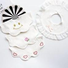 Babadores do bebê do bebê do algodão do material do bebê de 360 graus com laço bordado babadores da menina do bebê colar falso infantil babador bonito da criança recém-nascido cachecol