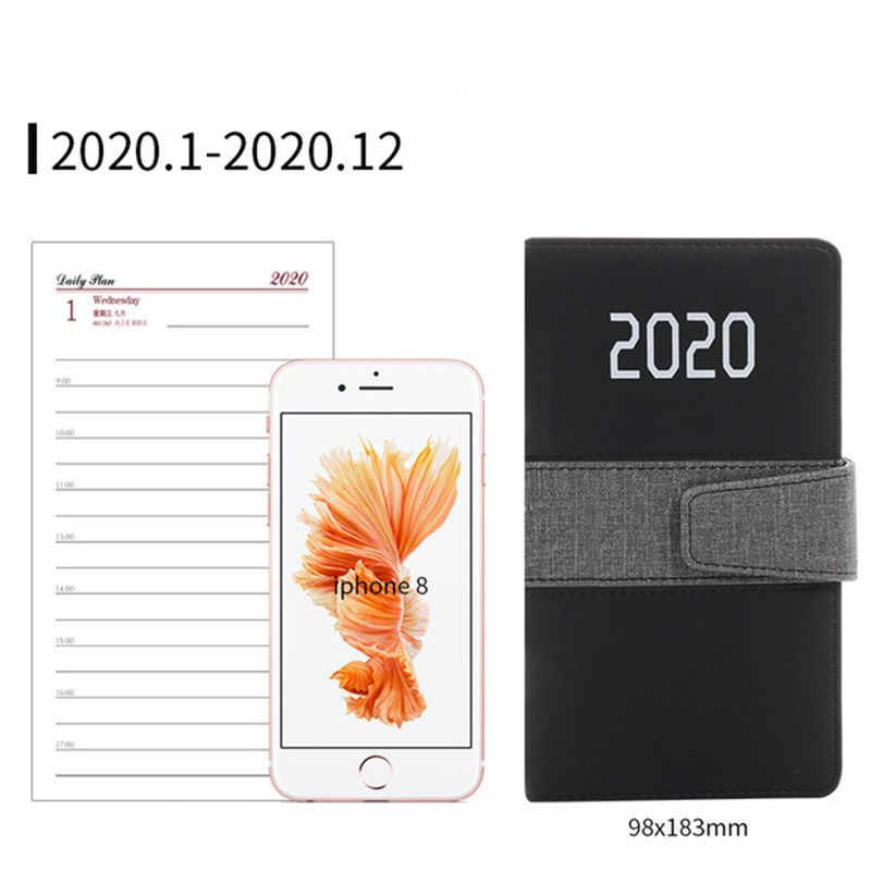 Planificador cuaderno organizador escuela-Suministros estacionarios A6 diario semanal calendario mensual 2020 Agenda de oficina cubierta de cuero portátil