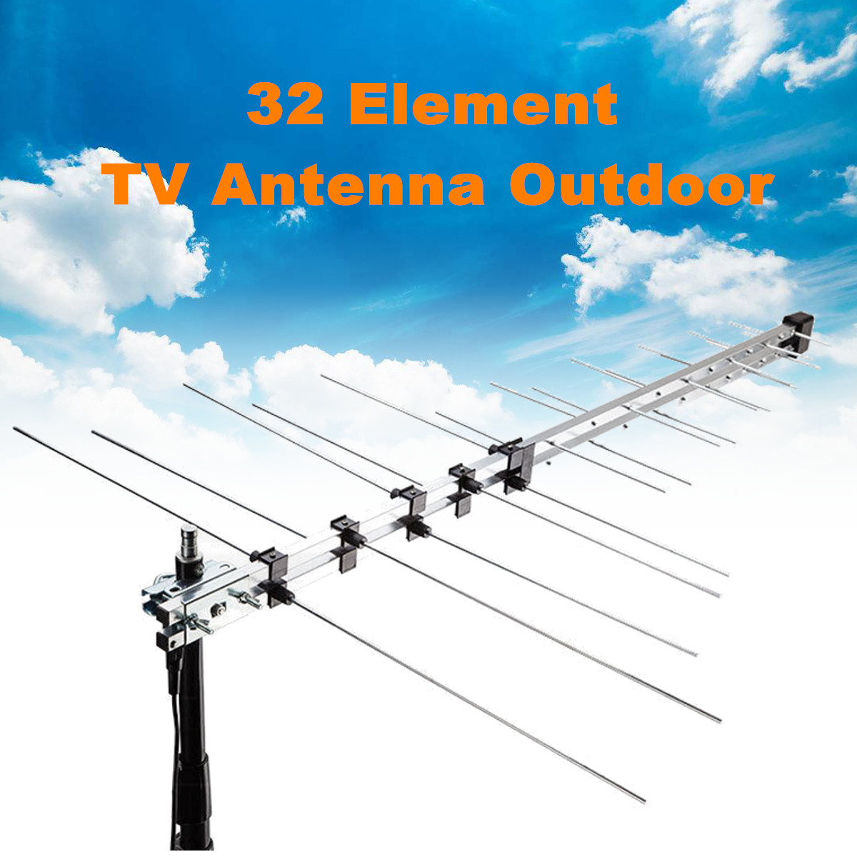 <font><b>Outdoor</b></font> Digital Aerial Signal Booster UHF VHF HD FM Amplified 8.5db DVB-T <font><b>TV</b></font> Receiver Accessories Large 32 Element <font><b>TV</b></font> <font><b>Antenna</b></font> image