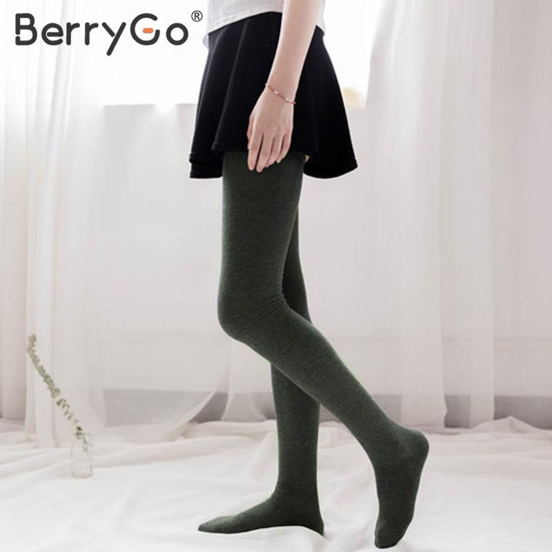 Women Chic Fashion Simple Flat Knee Preppy Stockings Solid Socks Autumn//Winter