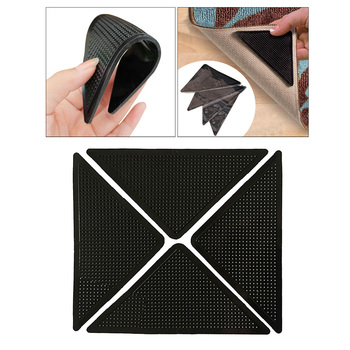 4x Black Non Slip Rug Carpet Mat Grippers Anti Skid Corners Pad for Bathroom Car Three Angle Sticker Suitable for Cars Floors image