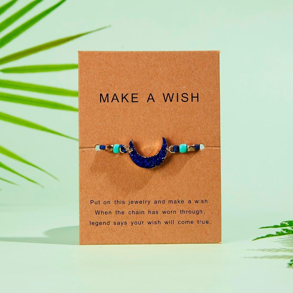Rinhoo 1 шт. ручной работы сделать пожелание картон красочные Луна Форма из смолы плетеный браслет для женщин модные ювелирные изделия подарок