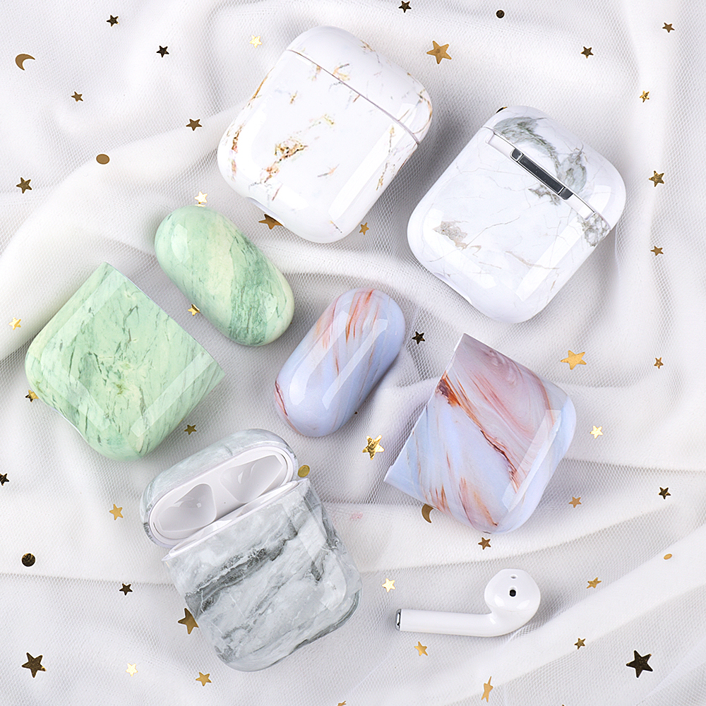 Luxury Silicone Earphone Case For Apple Airpods 2 1 Marble Pattern TPU Cases Coque For Airpods Air Pods Shockproof Cover Fundas
