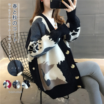 Women Cardigan Knit Sweater Vintage Stylish Geometric Pattern Slim Crop Top Fashion V-Neck England Style Long Sleeve Outerwear raw hem geo pattern crop sweater