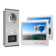 "CAT5/CAT6 케이블 연결 9 ""LCD 컬러 스크린 비디오 인터콤 도어 폰 시스템 초인종 2 패밀리 아파트 + RFID 카메라"