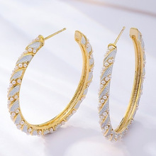 creative personality fashion  C-shaped earrings beads indian jewelry big hoop women rhinestone korean luxury