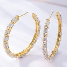 купить creative personality fashion  C-shaped earrings  beads  indian jewelry big hoop women rhinestone  korean luxury earrings дешево
