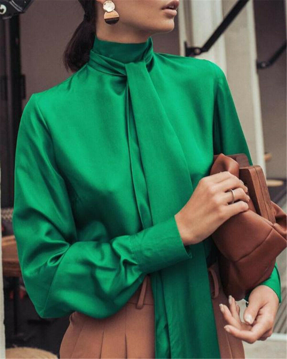 Women Satin Blouse Fashion High Neck Ribbon Tie Shirt Soft Silk Long Sleeve Shirts Office Lady Pullover Female Top Camisas Mujer