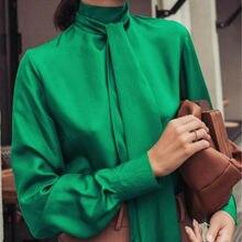 Women Satin Blouse Fashion High Neck Ribbon Tie Shirt Soft S