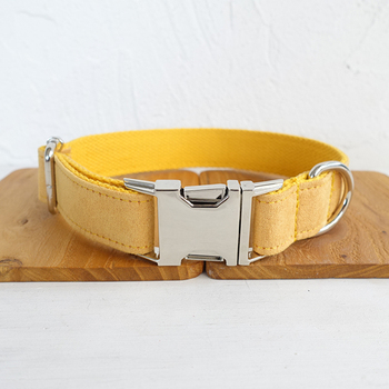 Pretty Adjustable Custom Dog Collar and leash 5 sizes special design Engraved metal buckle retailing THE YELLOW UDC077 image