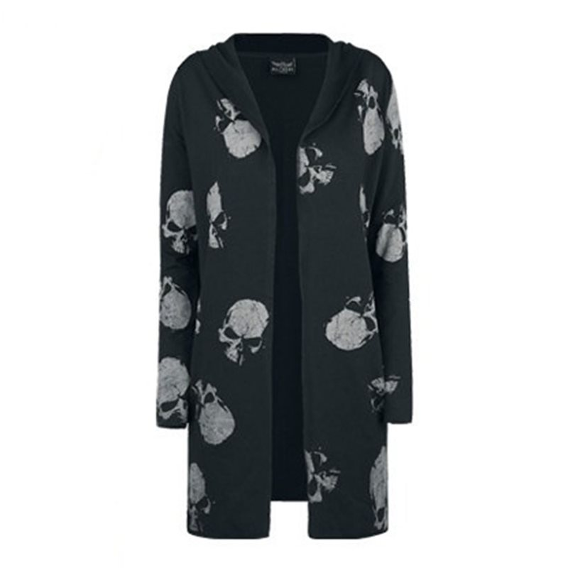 Dark Gothic Skull Printed Trench Coat Women Autumn Black Plus Size 5XL Mid Lendth Hoody Cardigan Punk Rock Hoodies Winter Coats
