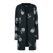 Dark Gothic Skull Printed Trench Coat Women Autumn Black Plus Size 5XL Mid Lendt