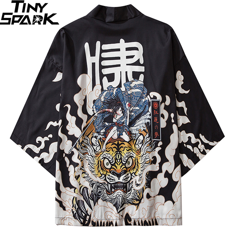 Japanese Kimono Jacket Tiger Samuri Harajuku 2020 Hip Hop Men Japan Style Streetwear Jacket Summer Thin Clothing Loose Kimono