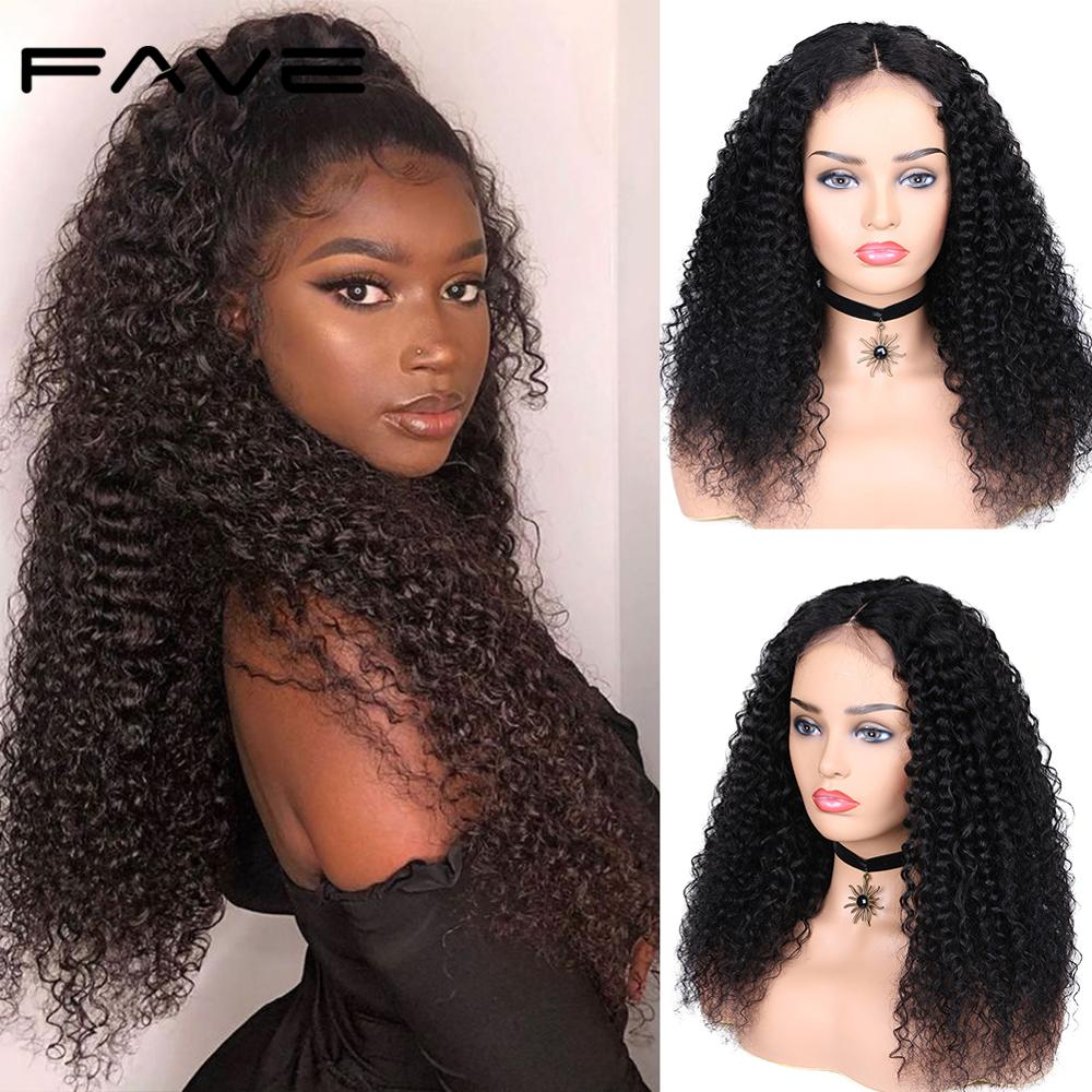 Curly Human Hair Lace Wig 4x4 Lace Closure Wig With Baby Hair FAVE Remy Lace Front Human Hair Wig Natural Color For Black Women