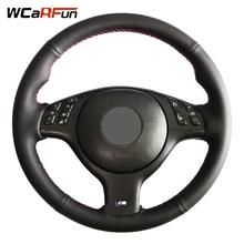 WCaRFun باليد مخيط أسود والجلود الاصطناعية سيارة غطاء عجلة القيادة ل BMW E46 M3 E39 540i 330i 525i 530i 330Ci 2001 2003