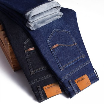 2020 New Jeans Brand Autumn Winter Jeans Warm Flocking Warm Soft  Men Activities Warm Fleece Men Jeans 1