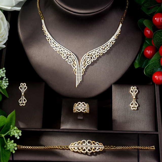 Jewelry Sets bfx0015 HIBRIDE High Quality Cubic Zirconia Wedding Necklace and Earrings Luxury Crystal Bridal Jewelry Sets for Bridesmaids