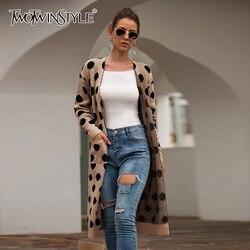 TWOTWINSTYLE Polka Dot Gestrickte Pullover Für Frauen V Neck Langarm Strickjacken Strick Long Pullover Weibliche 2020 Mode Neue