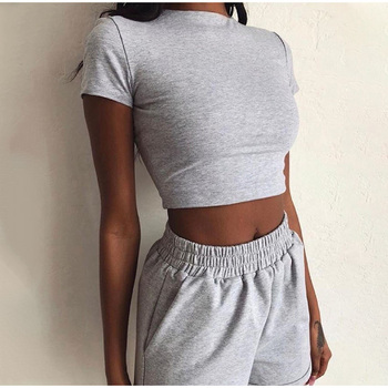 Sexy Solid Women 2 Piece Set Summer Short Sleeve Female Sport Tracksuit 2020 New Skinny Crop Top Elastic Shorts Matching Sets