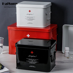 Metal Household First Aid Kit Outdoor Camping Medical Box Portable Medical Supplies Toolbox Medicine Storage Box Outpatient Box