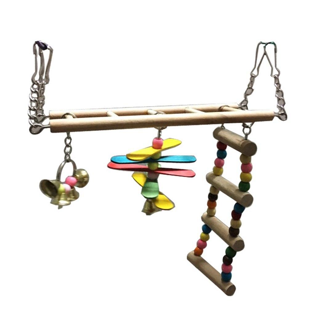 Pet Birds Swing Wooden Bridge Ladder Climb Cockatiel Parakeet Budgie Parrot Toy5 Ladder