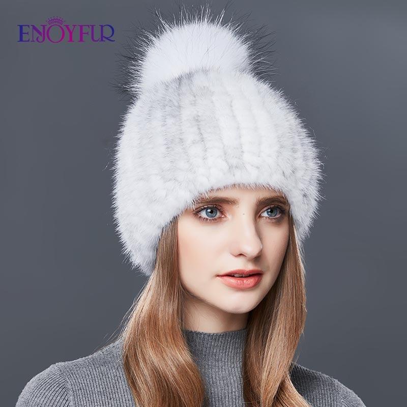 ENJOYFUR Real Mink Fur Hat Female High Quality Thick Warm Winter Hats For Women Fashion Luxury Fur Pompom Beanies