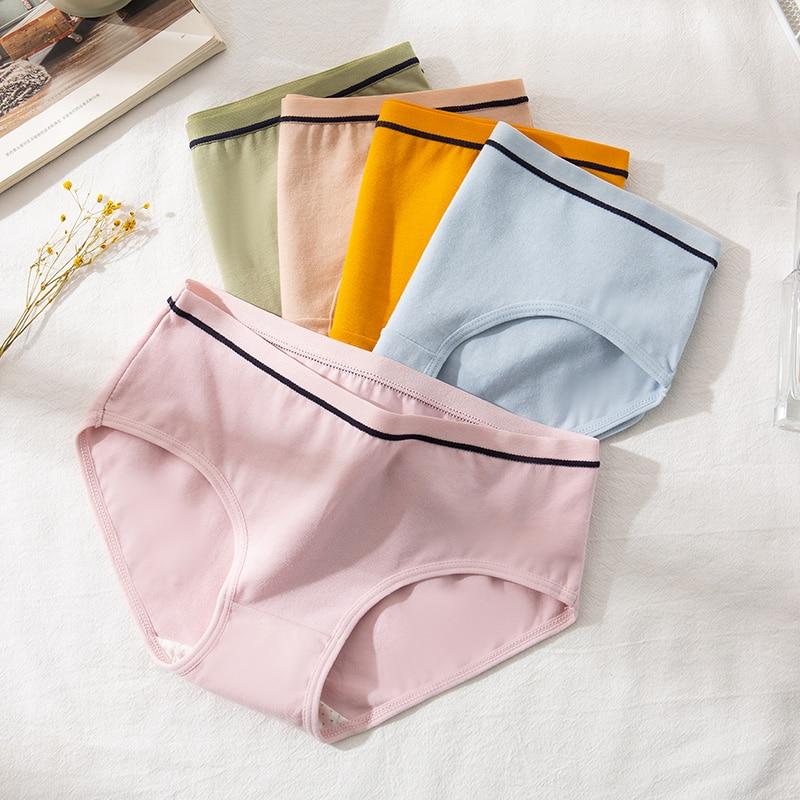 LANGSHA 5 adet pamuk kadın külot rahat yumuşak yeni moda kadın nefes alan iç çamaşırı dikişsiz düşük bel kızlar için külot