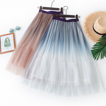 Gradient Skirts 2020 New Summer Galaxy Star Tutu Skirt Sequins Shiny Mesh Sweet Fresh Chic High Waist Pleated Tulle
