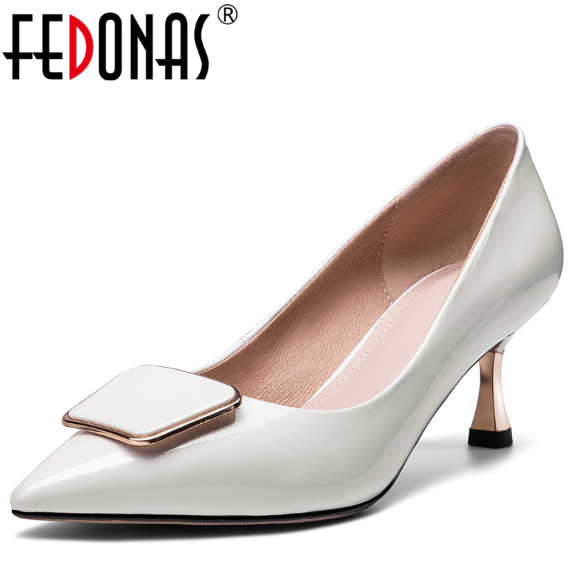 FEDONAS  Women Pumps 2020 Metal Decoration Cow Patent Leather Prom Shoes Pointed Toe Spring Summer High Heeled Shoes Woman