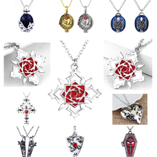 Hot Anime Vampire Knight Rose Pendant Necklace High Quality Alloy Metal Women Sweater Chain Jewelry