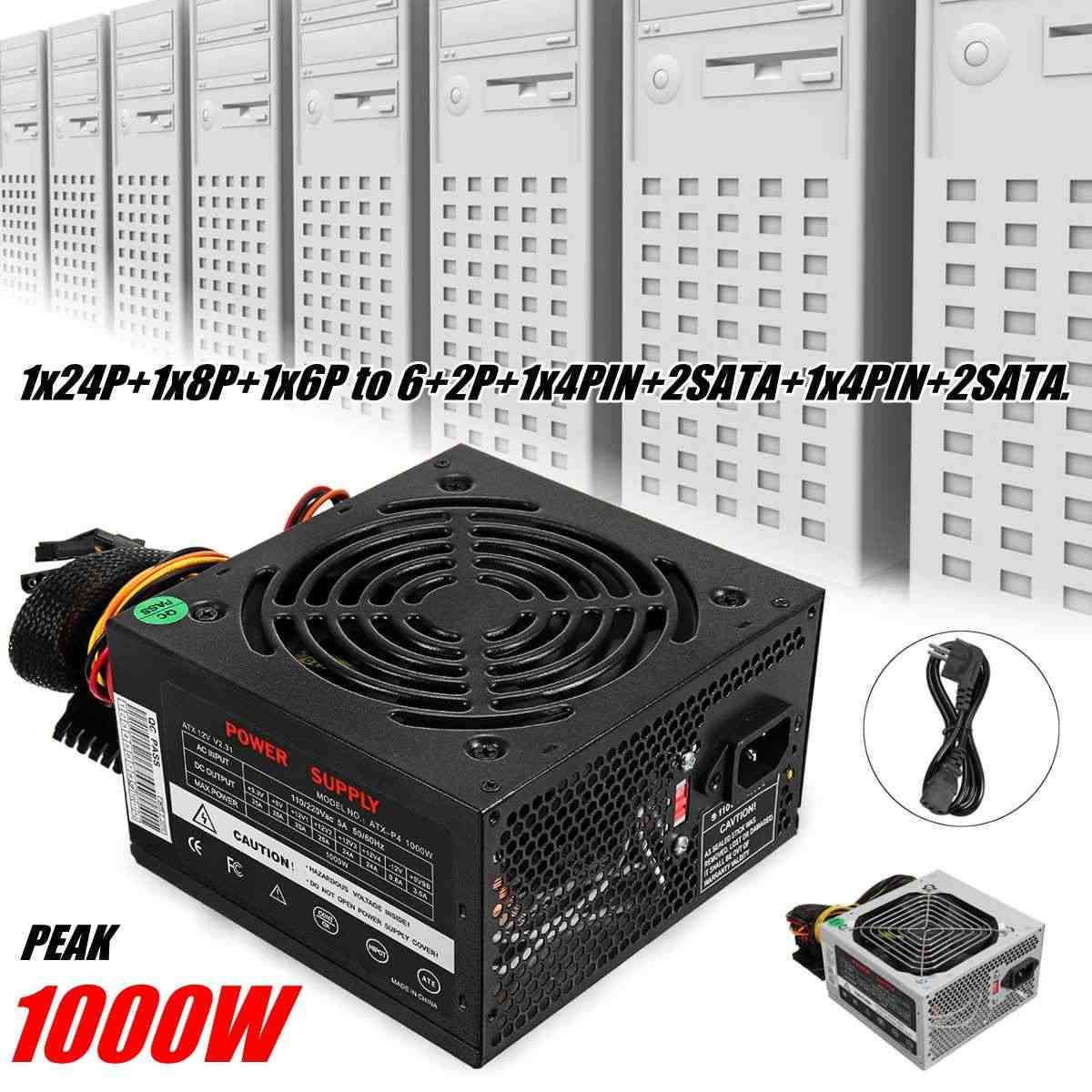 1000W Power Supply PSU PFC Silent Fan ATX 24pin 12V PC Computer SATA Gaming PC Power Supply For Intel AMD Computer