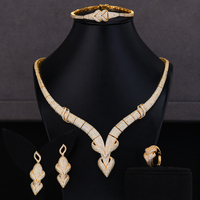 GODKI Simulated Romantic Bridal Jewelry Sets Necklace Bracelet Earrings Ring Sets Bridal Wedding Jewelry Parure Bijoux Femme