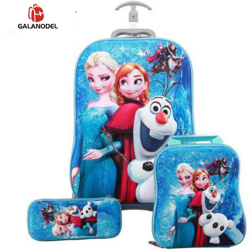 Children Wheeled Backpack Kids Travel 3PCS/set Suitcase Boy Girl Creative Cartoon Children Christmas Gift Carry on Luggage