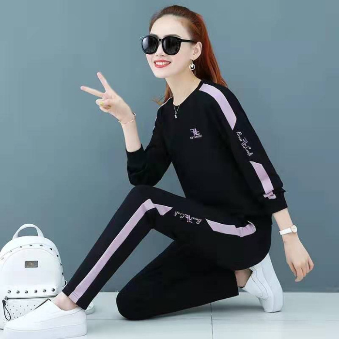 Hot Selling 020 New Style Casual Sports Clothing Set Female Spring Autumn And Winter Korean-style Loose-Fit Plus Velvet Two-Piec