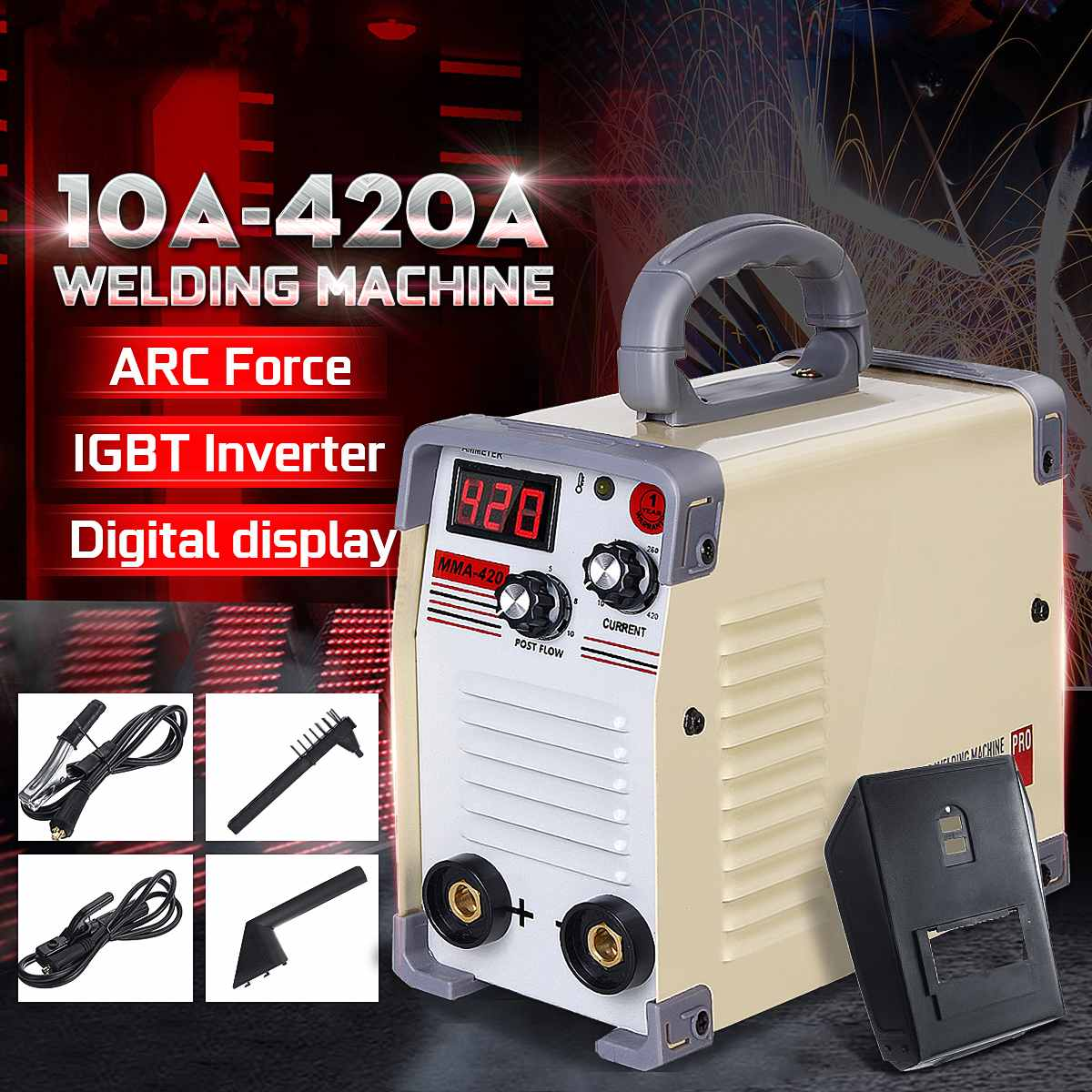220V Mini Tig Inverter 10-420A Handheld Mini MMA DC Inverter Welding Machine With Clamp For Welding Working Welder Inverter Tool