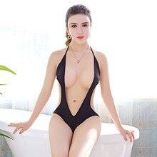 Swimsuit Bikini Transparent Japanese High-Waist Sexy Beach Tight Mujer Women Solid HALTER-FORWARD