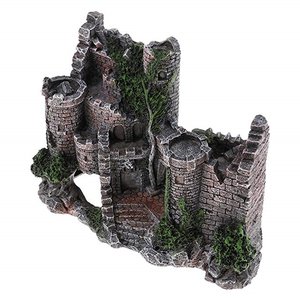 Image 4 - 新しい樹脂人工魚タンク古代城の装飾水族館ロック洞窟建築装飾水生造園飾り