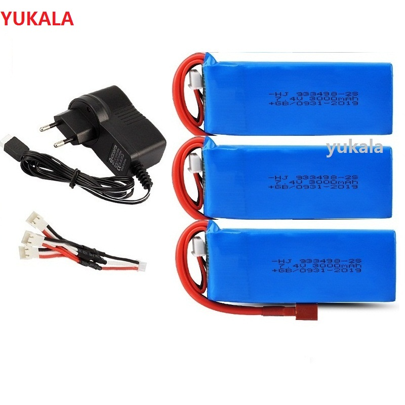 YUKALA <font><b>7.4V</b></font> <font><b>3000mAh</b></font> <font><b>Lipo</b></font> <font><b>Battery</b></font> T Plug RC Car Upgrade Parts for WLtoys 144001 1/14 rc car 7.4 v 3000 mah image