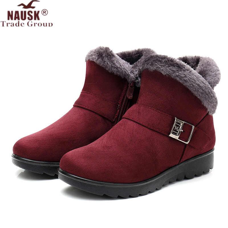 Mùa đông Nữ Mắt Cá Chân Giày Thời Trang Mới Đàn Nêm Nền Tảng Mùa Đông Ấm Đỏ Đen Ủng Giày Cho Nữ Plus Kích Thước 40 41