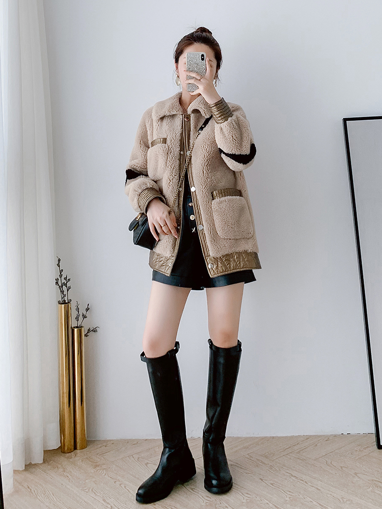 Real Fur Coat Women Winter Coat Women Clothes 2020 Parka Real Fur Jacket Korean Sheep Shearing 100% Wool Jacket B9R1702 YY2329