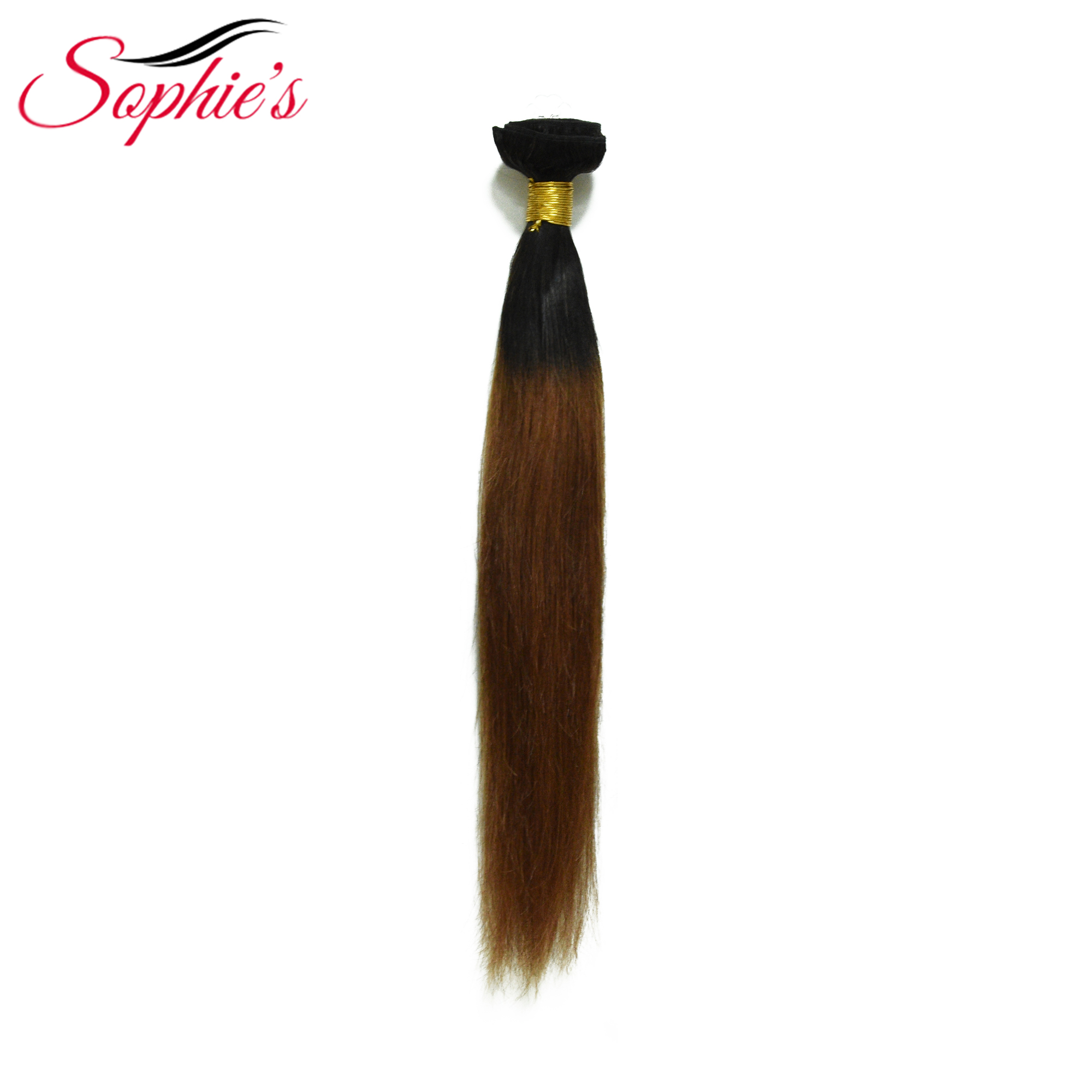 Sophie's Pre-colored Ombre Hair Bundles  4 Bundles  T1B/33 Color Human Non-Remy Straight Brazilian Hair Weaves Hair Extensions
