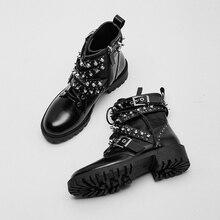 Новинка; женские ботинки с заклепками; ботинки из натуральной кожи; женская обувь с жемчугом; повседневные ботинки с пряжкой; женские ботильоны; Botas Mujer