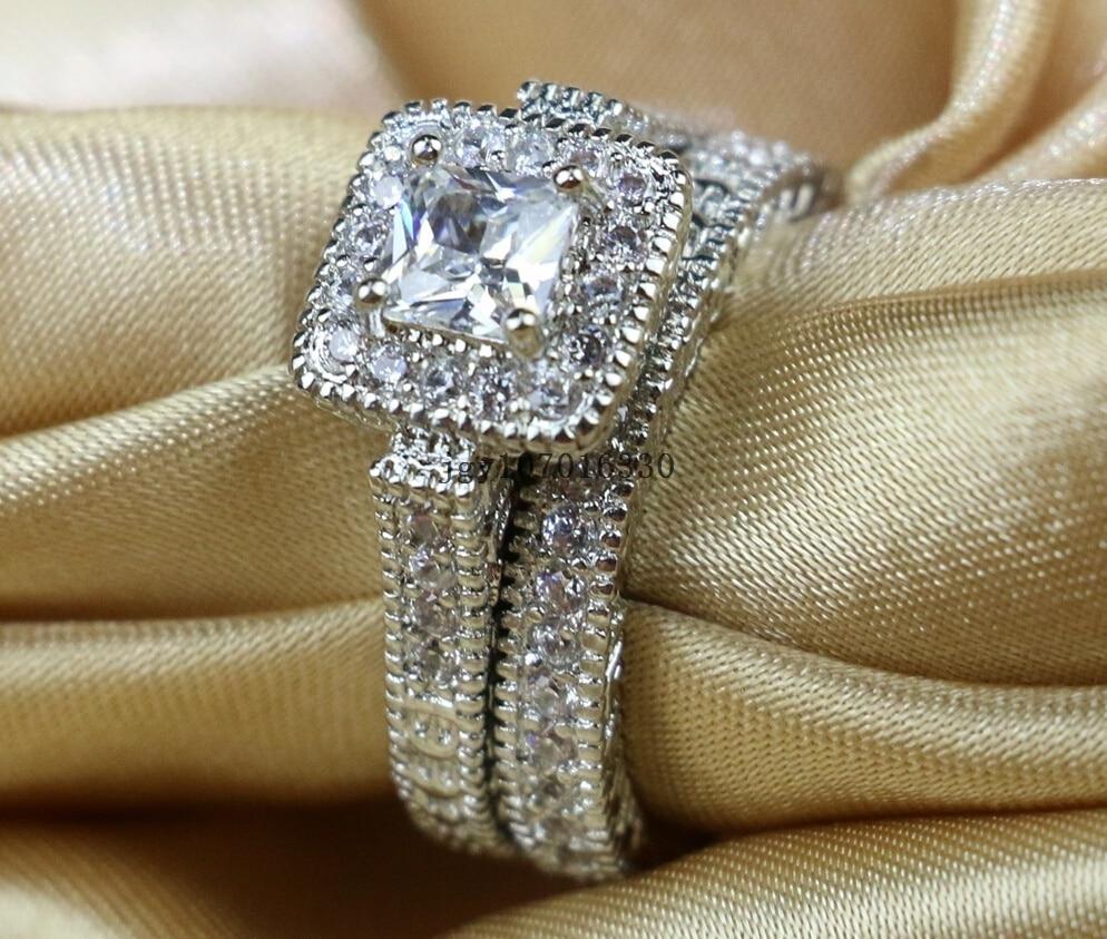 Zuee Clear Cz Bridal Sets 10KT White Gold Filled Vrouwen Wedding Ring Band Geschenken Sz 6,7, 8,9 - 2